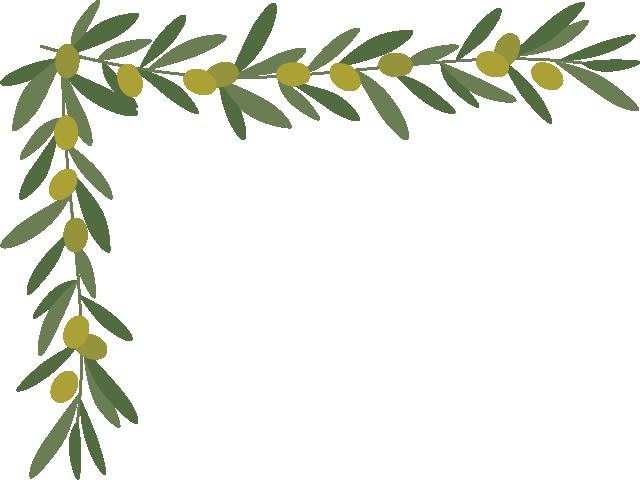 オリーブ(葉・実)のコーナーフレーム飾り枠イラスト(W660×H480px)