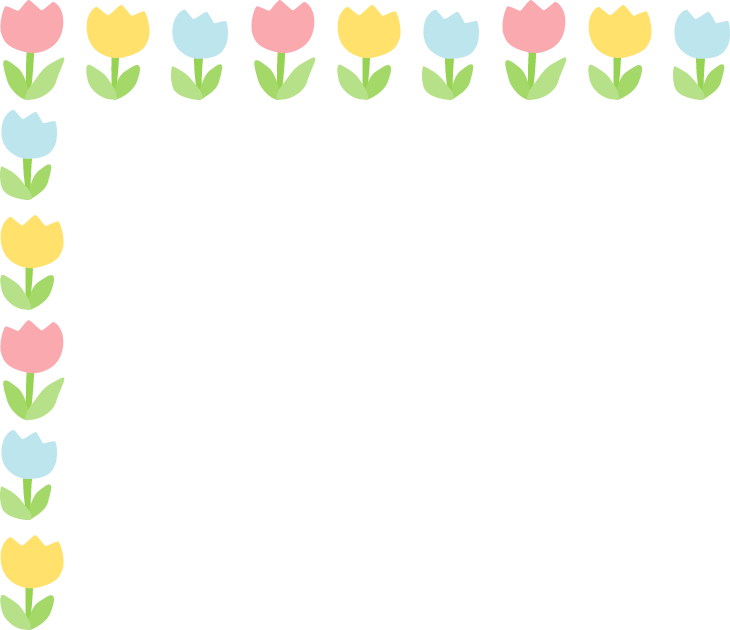 かわいいチューリップのフレーム飾り枠イラスト<水色・赤・黄色>
