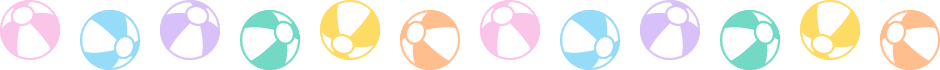 ビーチボールのライン飾り罫線イラスト<小>