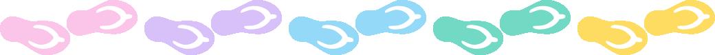 ビーチサンダルのライン飾り罫線イラスト<大>