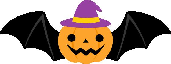 ハロウィンのこうもりカボチャのイラスト<紫帽子>