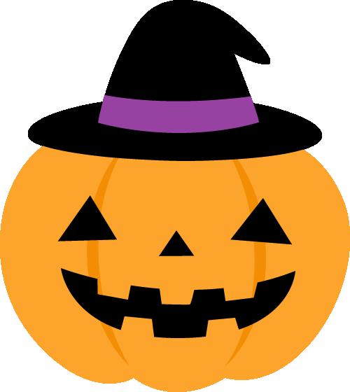 黒い帽子を被ったハロウィンのかぼちゃイラスト