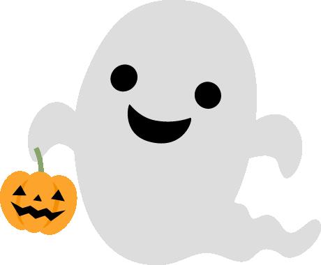 かぼちゃのランタンを持ったハロウィンおばけ(ゴースト)のイラスト
