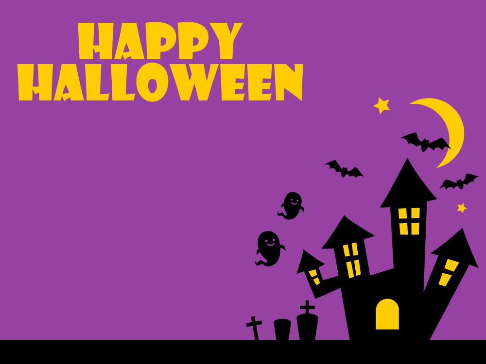 ハロウィンのメッセージフレーム<紫色>