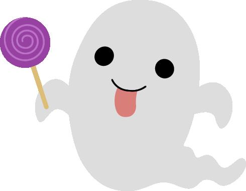 紫のキャンディーを持ったハロウィンおばけ(ゴースト)のイラスト