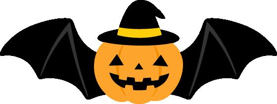 ハロウィンのこうもりカボチャのイラスト<黒帽子>