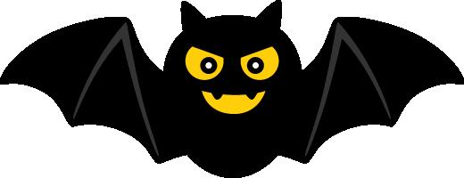 ハロウィンのこうもりイラスト<黒・黄>