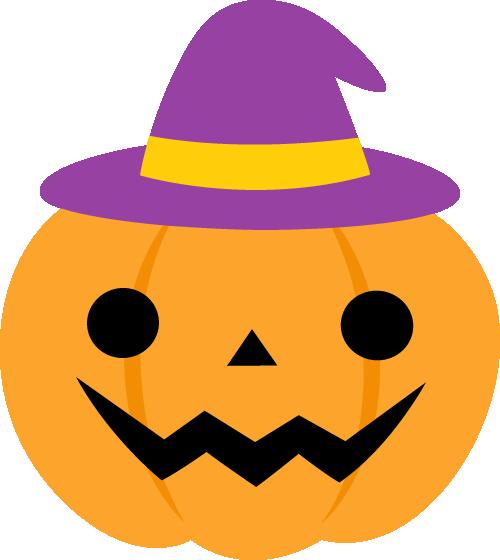 紫の帽子を被ったハロウィンのかぼちゃイラスト