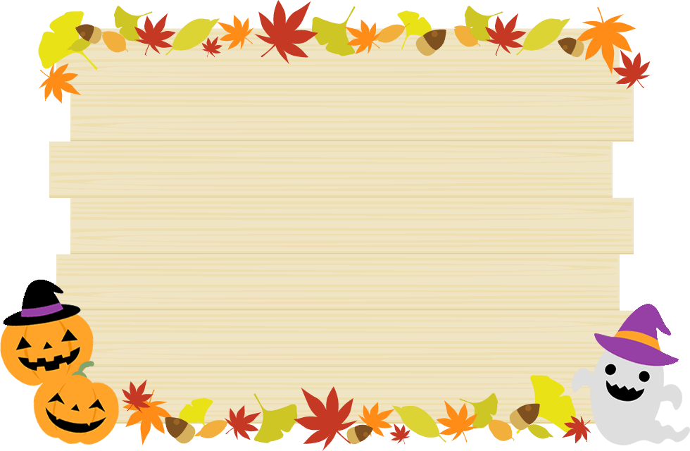ハロウィンの木製フレーム枠イラスト<大>