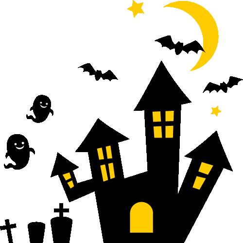 ハロウィンの洋館とコウモリ・おばけ・墓のイラスト
