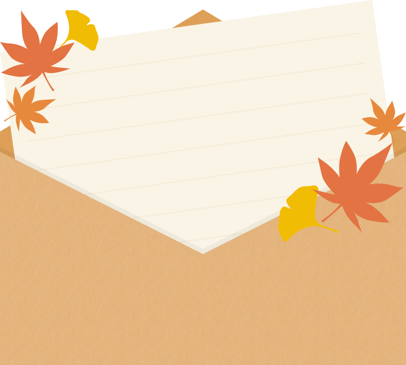 モミジとイチョウを飾った便箋入り封筒イラスト<斜め>