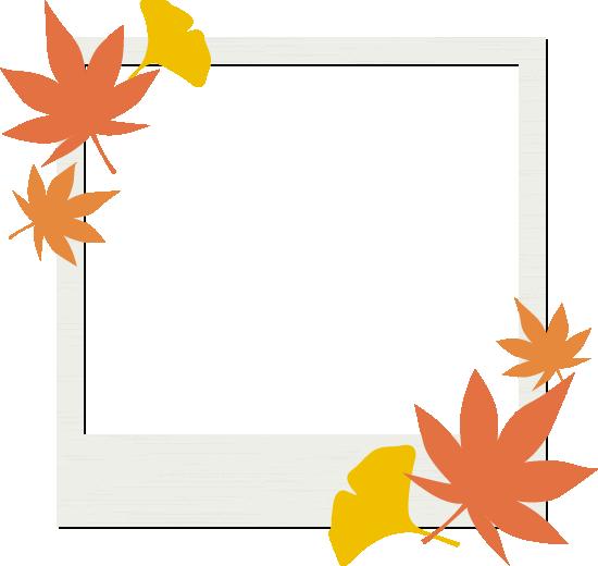モミジとイチョウを飾ったフォトフレームイラスト<正方形>