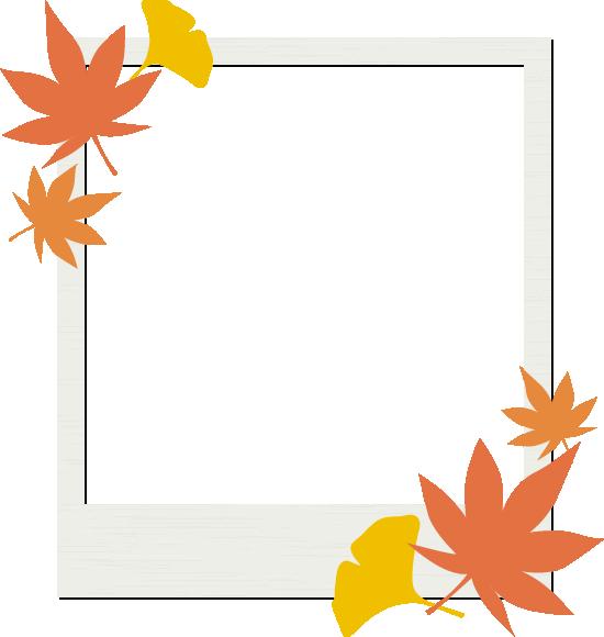 モミジとイチョウを飾ったフォトフレームイラスト<長方形>