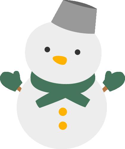 雪ダルマのイラスト<緑>