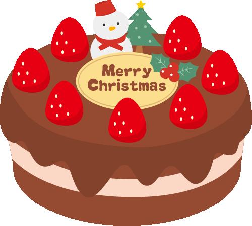 クリスマスケーキのイラスト<チョコ・雪だるま>