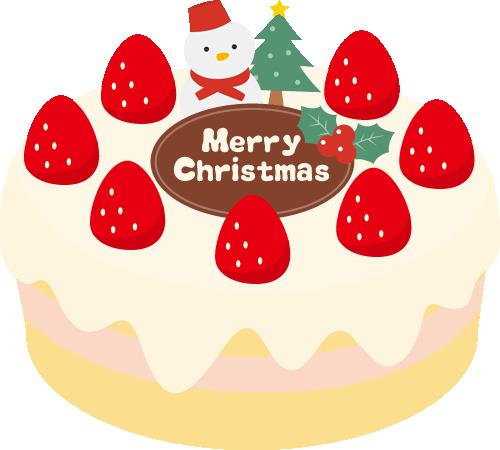 クリスマスケーキのイラスト<生クリーム・雪だるま>