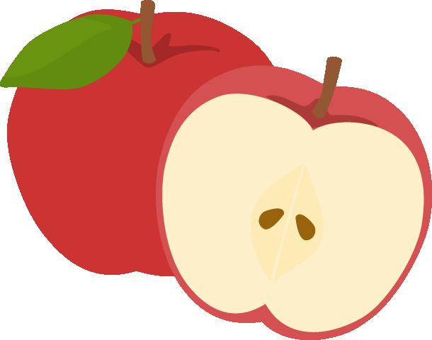 林檎(リンゴ)のイラスト<2個>