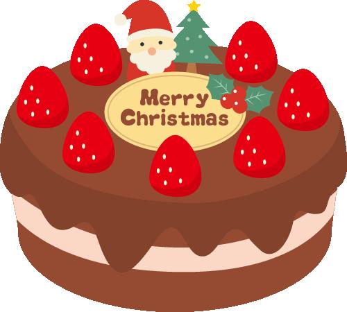 クリスマスケーキのイラスト<チョコ・サンタ>