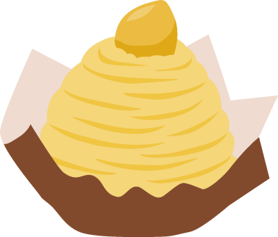 モンブランのイラスト<黄色>