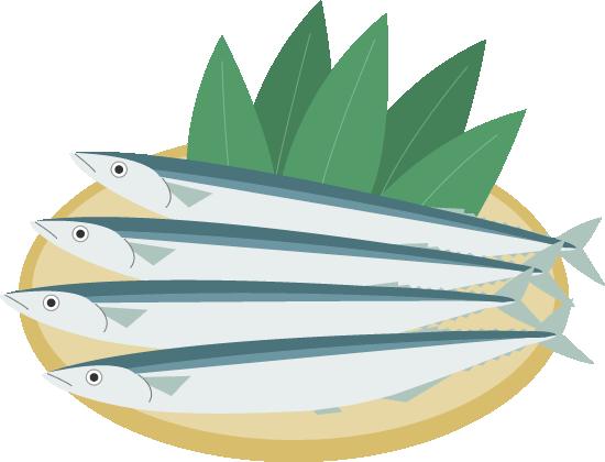 ザルに乗せた秋刀魚(生さんま)のイラスト<4尾>