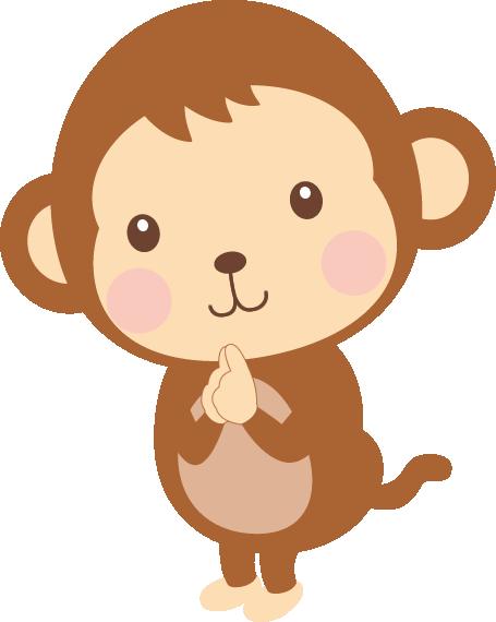 五郎丸ポーズをする猿(申)のイラスト