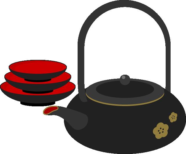 お屠蘇(屠蘇器セット)のイラスト<黒>
