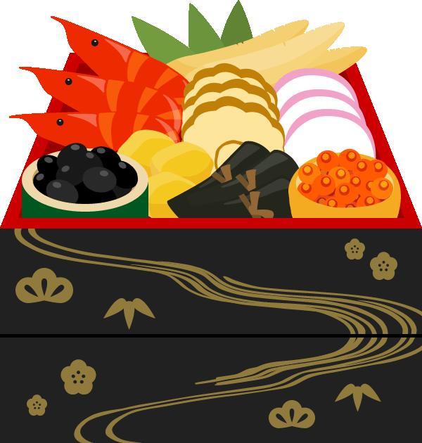 おせち料理のイラスト<2段重箱>