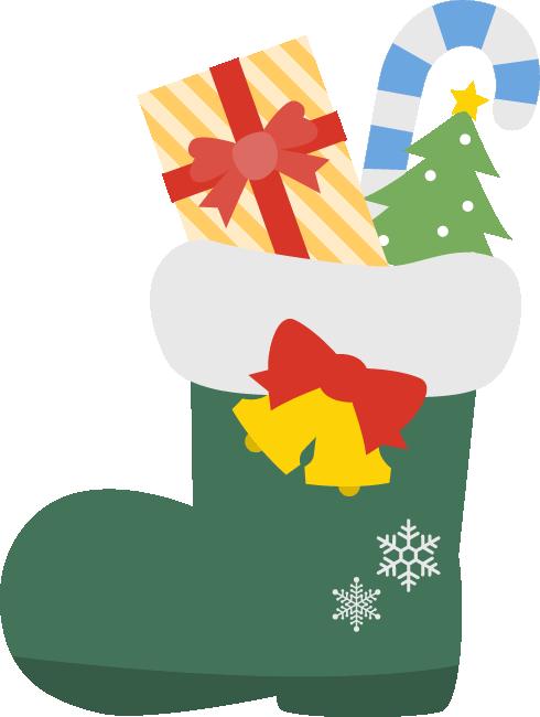 サンタのブーツに入ったクリスマスプレゼント<緑>
