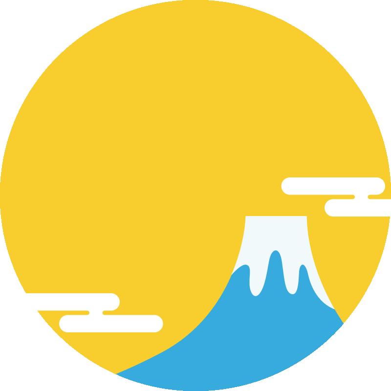 富士山と初日の出の丸型フレーム枠イラスト<黄色>