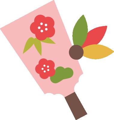 羽子板のイラスト(ピンク)