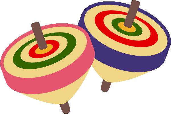 独楽(こま)のイラスト[ピンク・紫]