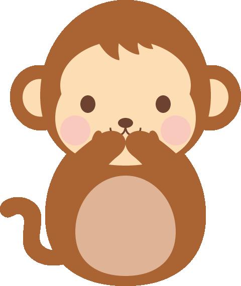 三猿(見ざる言わざる聞かざる)のイラスト<言わ猿>