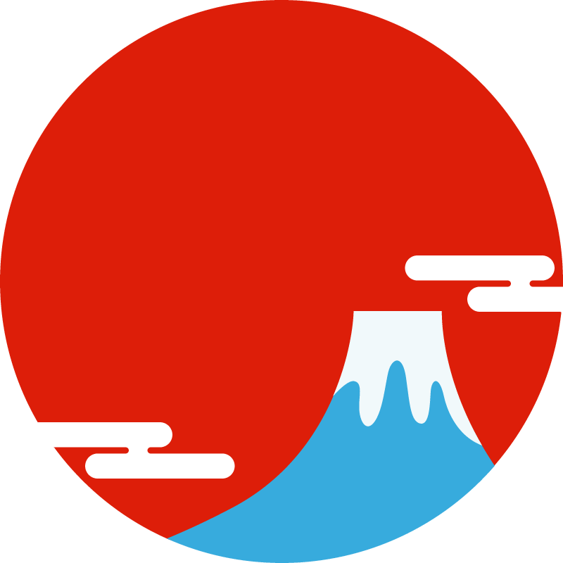 富士山と初日の出の丸型フレーム枠【新年/正月フリーイラスト】