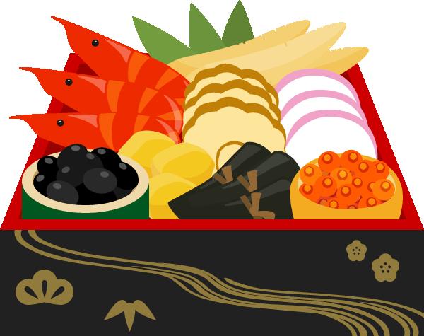 おせち料理のイラスト<1段重箱>