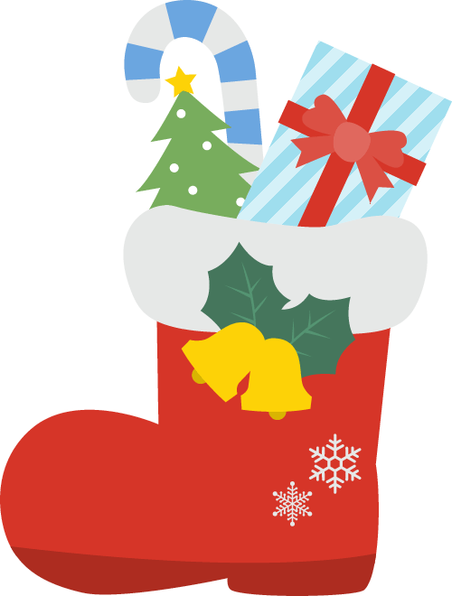 サンタのブーツに入ったクリスマスプレゼント 無料フリーイラスト素材