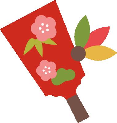 羽子板のイラスト(赤)