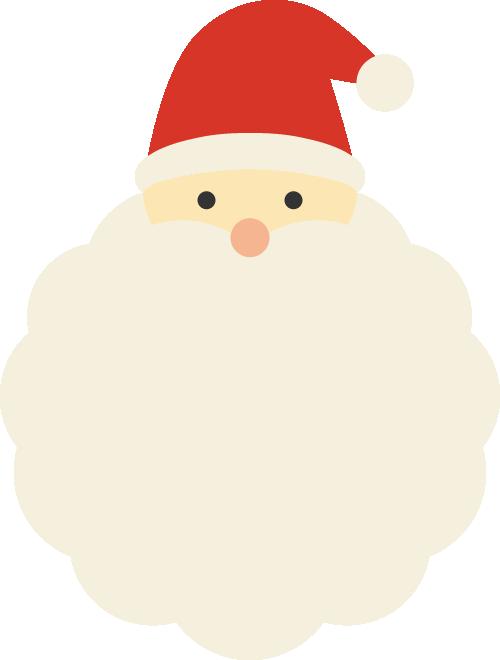 サンタクロースの髭のフレーム枠イラスト<小>
