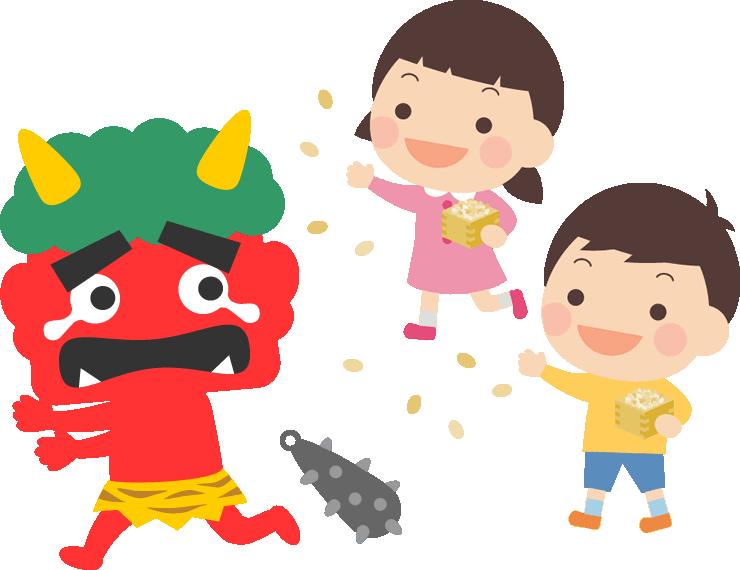 赤鬼に豆をまく子供のイラスト