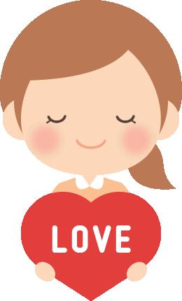 [バレンタインイラスト]女の子とピンクのハート