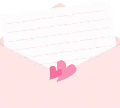 封筒に入ったラブレターのイラスト<斜め>