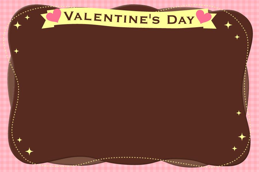 [バレンタインイラスト]チェック柄背景のチョコレートフレーム<大>