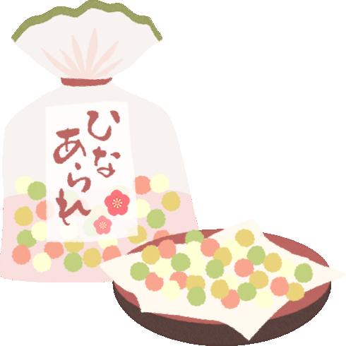[ひな祭り]お皿に入れた雛あられのイラスト