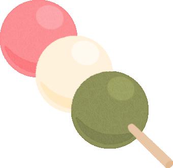 三色団子(お花見だんご)のイラスト<1本>