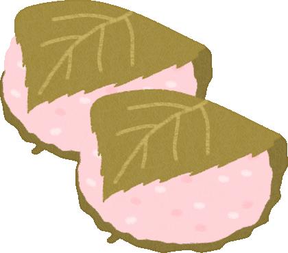 桜餅のイラスト(関西風/道明寺)<2個>