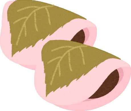 桜餅のイラスト(関東風/長命寺)<2個>