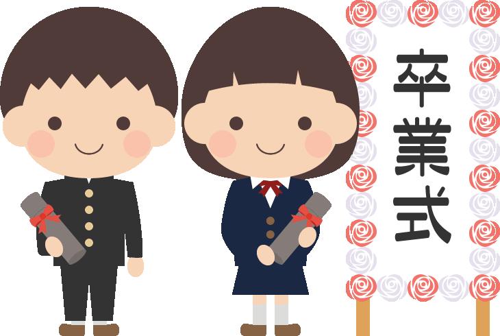 卒業式のイラスト(中学校・中学生)<看板右>