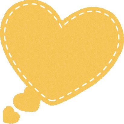ハート型の吹き出しイラスト(フェルト生地風)<黄色>