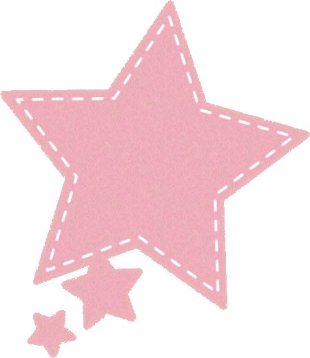 星型の吹き出しイラスト(フェルト生地風)<ピンク色>