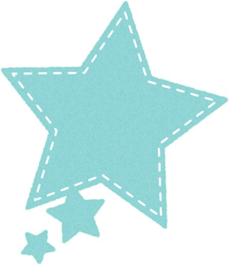 星型の吹き出しイラスト(フェルト生地風)<水色>