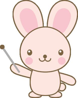 指し棒を持ったうさぎのイラスト<ピンク>